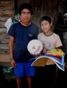 Wilson and Luis, brothers and future scholarship students humbly accept gifts